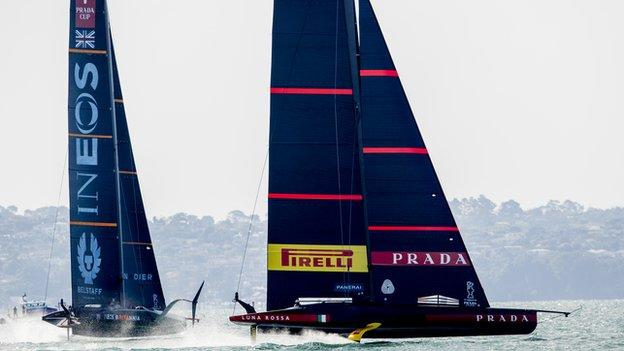 Luna Rossa leads Ineos Team UK during Sunday's racing