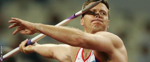 Steve Backley preparing to throw the javelin