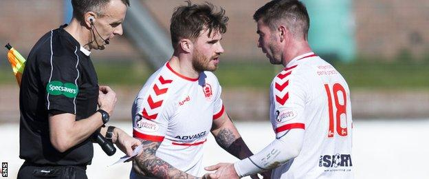 Clyde striker David Goodwillie and Stirling's Peter MacDonald