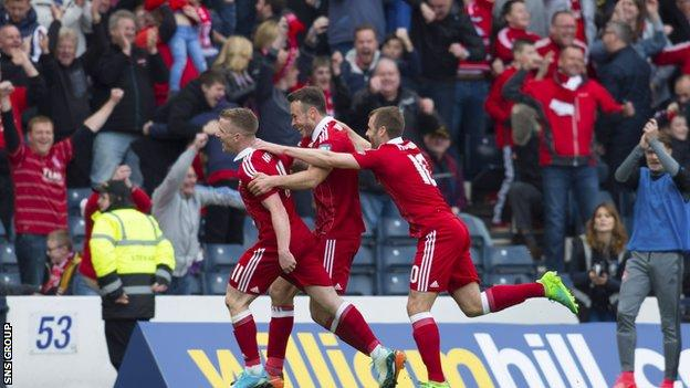 Jonny Hayes celebrates his late winner for Aberdeen at Hampden