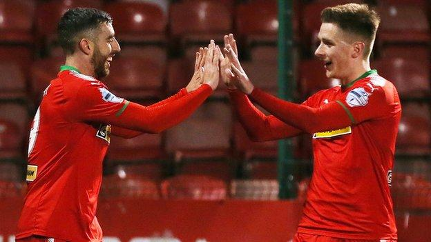 It was night to celebrate for Reds scorers Joe Gormley and Ryan Curran