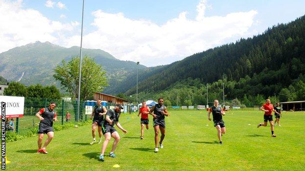 Wales players training in 2015 in Switzerland