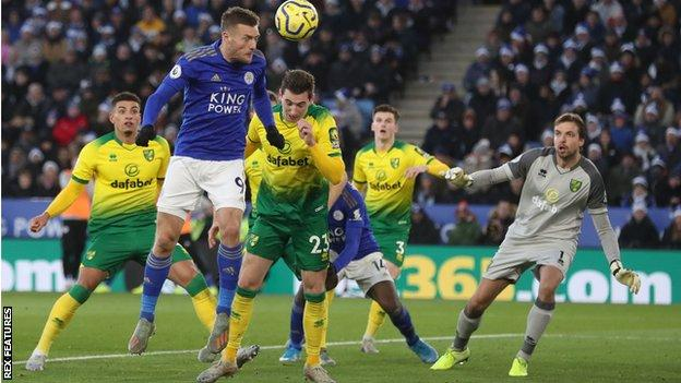 Jamie Vardy heads the ball during Leicester's 1-1 draw with Norwich on 14 December