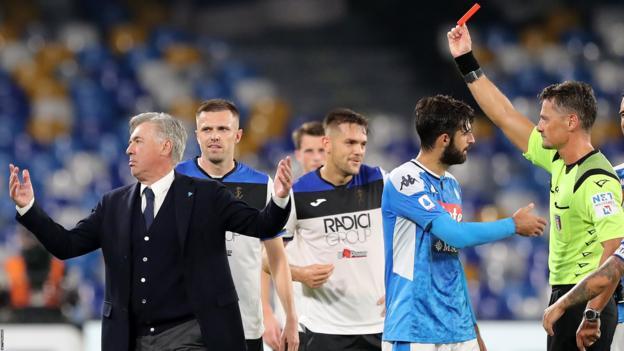 Ancelotti sent off after referee 'buffoonery'
