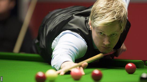 Neil Robertson plays a shot at the Scottish Open
