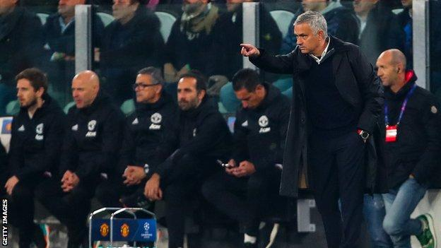 Jose Mourinho gives instructions to his team against Juventus