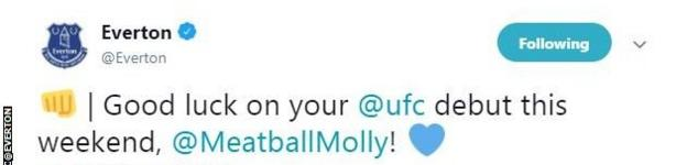 Everton tweet Molly McCann