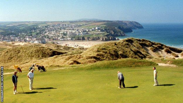 Golfers at Perranporth Golf Club, Cornwall