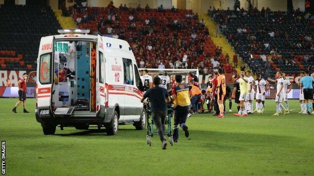 Ambulance takes Fabrice N'Sakala to hospital