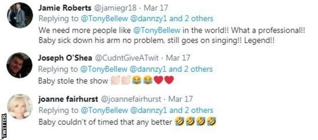 Twitter users react to Tony Bellew singing, pointing out that his baby son, who Bellew was holding, vomited during the performance.