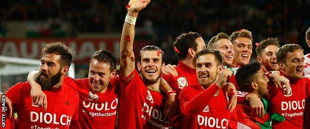 Joe Ledley and Gareth Bale lead the celebrations as Wales qualify for Euro 2016