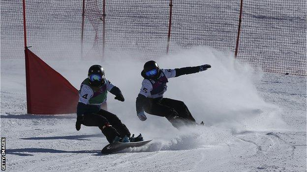 Ellie Soutter pictured in action in the snowboard cross at the European Youth Olympics Winter Festival in 2017