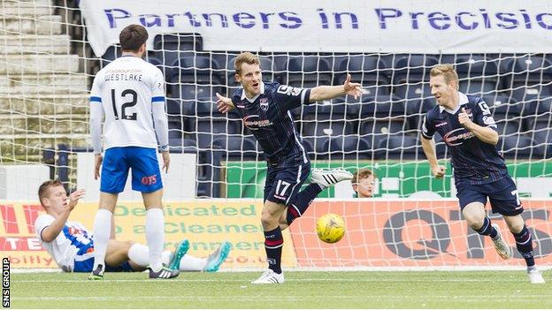 Jonathan Franks celebrates his debut goal for Ross County