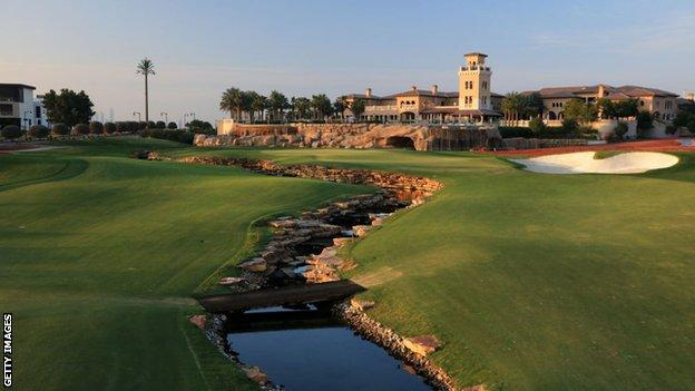The 18th hole on the Earth Course at the Jumeirah Golf Estates