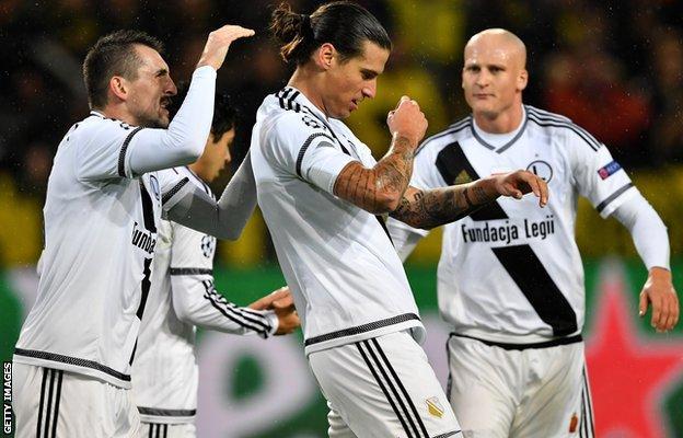 Aleksandar Prijovic of Legia Warsaw celebrates scoring his team's first goal