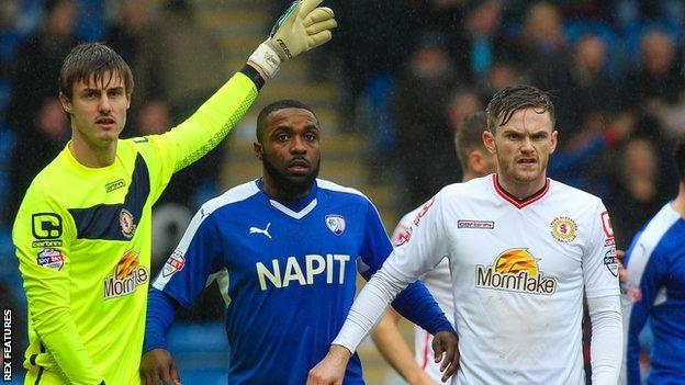 Sylvan Ebanks-Blake (centre) scored one and set up another for Chesterfield against Crewe