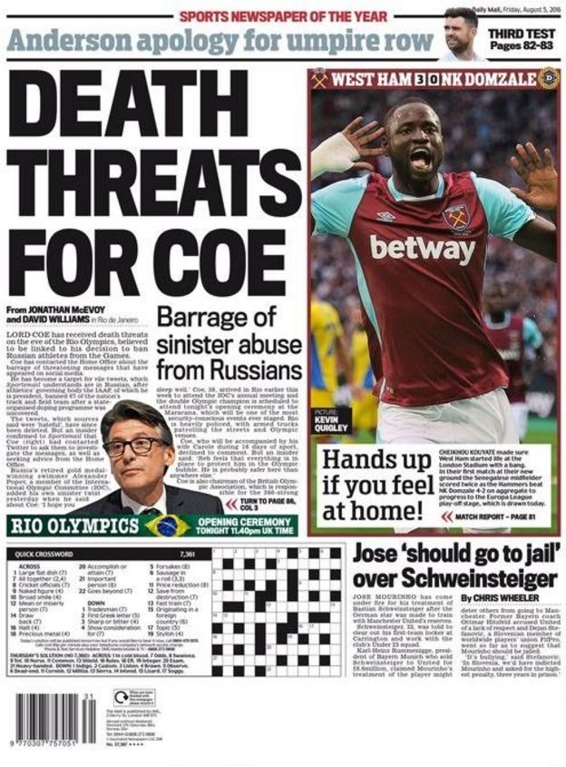 Daily Mail back page