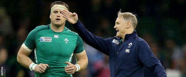 Jamie Heaslip and Ireland coach Joe Schmidt before the World Cup quarter-final defeat by Argentina in October