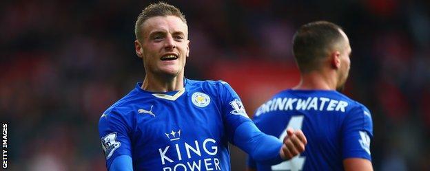 Jamie Vardy celebrates with Leicester