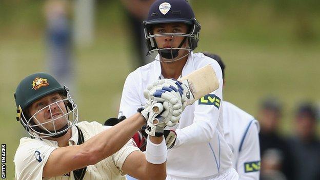 Harvey Hosein keeps wicket during a Derbyshire's Tour Match against Australia