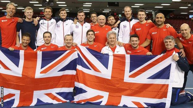 Great Britain celebrate their victory over Canada
