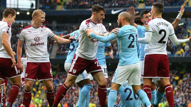Manchester City and Burnley players