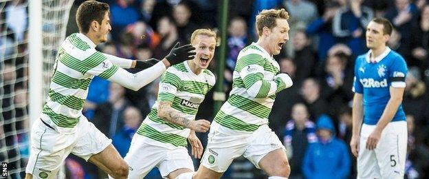 Celtic celebrate their second goal last year against Rangers