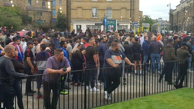 Crowds of fans waited outside the Batley venue for Wilder to arrive