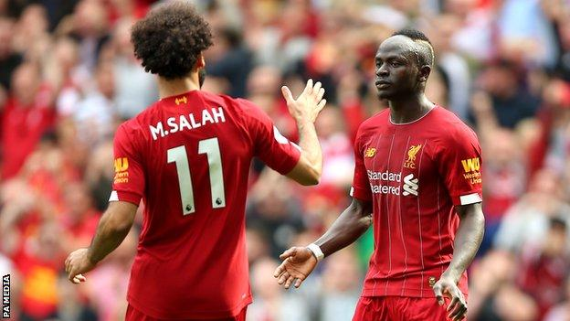 Liverpool's Sadio Mane and Mohamed Salah