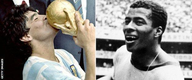 Diego Maradona and Jairzinho