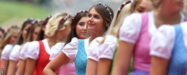 Women in traditional Austrian dress