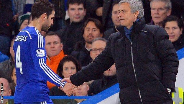 Cesc Fabregas and Jose Mourinho