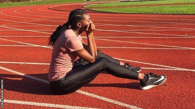 "Alongside images of glamorous photo shoots, Asher-Smith shares photos from training, including this one where she sais she was ""waiting for my legs, eyes and brain to start working again"""