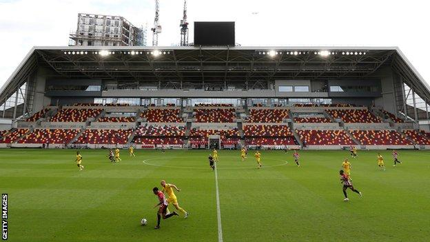 A match being played at Brentford's Community Stadium