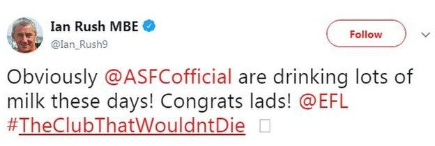 Ian Rush tweets Accrington Stanley after they won promotion from League Two