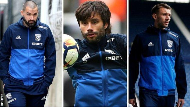 Boaz Myhill (left), Claudio Yacob and Gareth McAuley amassed 484 Albion appearances between them