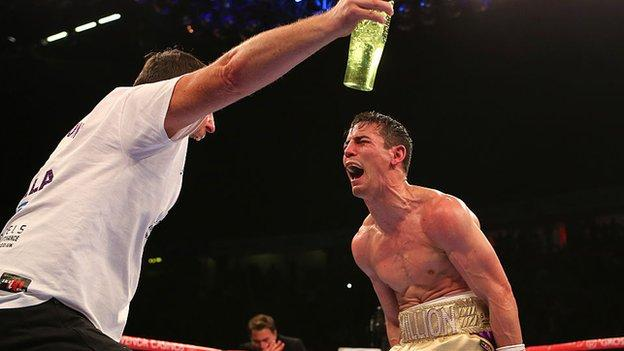 Crolla embraced trainer Joe Gallagher after stopping Darleys Perez to win a world title in 2015