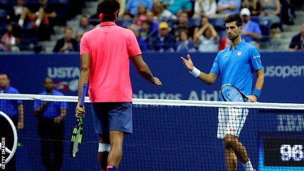 Jo-Wilfried Tsonga and Novak Djokovic