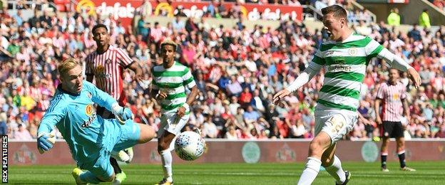 Celtic's Callum McGregor fires past Sunderland goalkeeper Jason Steele