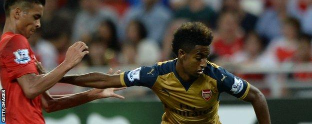 Gedion Zelalem (right) in action for Arsenal