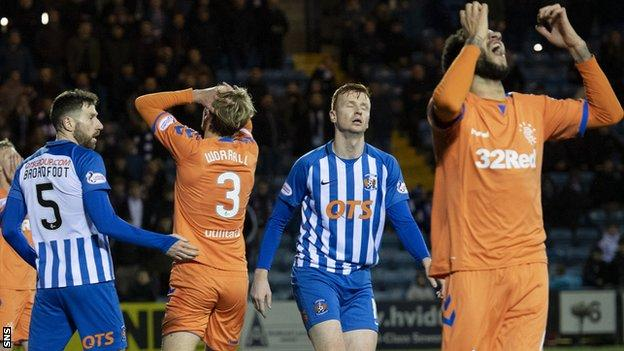 Kilmarnock and Rangers at Rugby Park earlier this month