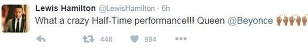 Lewis Hamilton is impressed with Beyonce