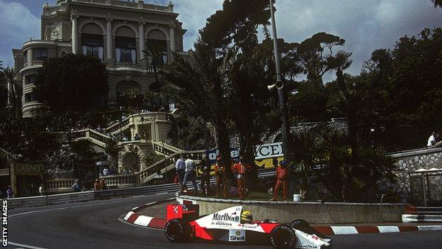 Ayrton Senna at the Monaco Grand Prix in 1990