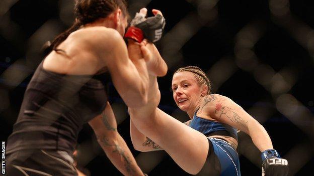 Joanne Calderwood (R) of Scotland fights Lauren Murphy during their UFC 263 women's flyweight match at Gila River Arena on June 12, 2021 in Glendale, Arizona.