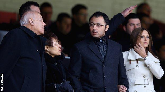 Assem Allam, Fatima Allam, Ehab Allam watch Hull City play Burnley