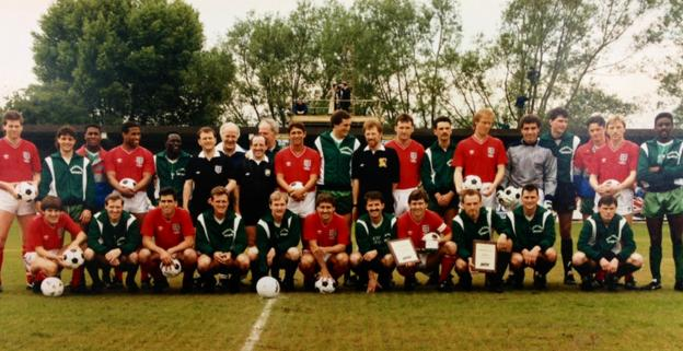 England and Aylesbury United players line up together before a warm up match on 4 June 1988