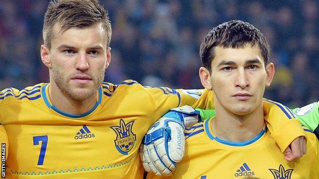 Andriy Yarmolenko (left) and Taras Stepanenko on Ukraine international duty
