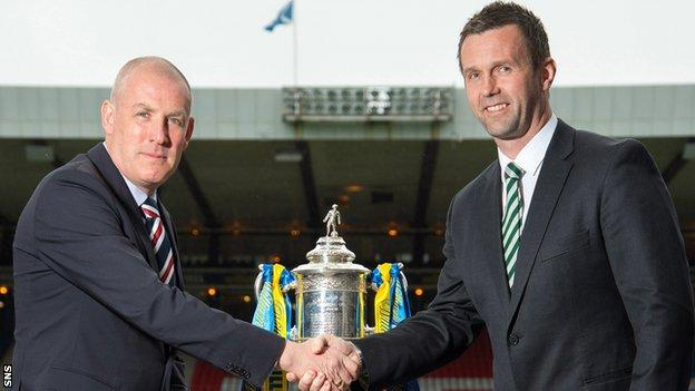 Rangers' Mark Warburton and Celtic's Ronny Deila shake hands