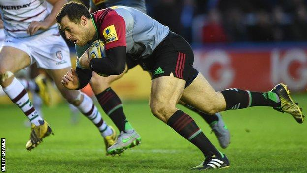 Tim Visser scores Harlequins' opening try against London Irish