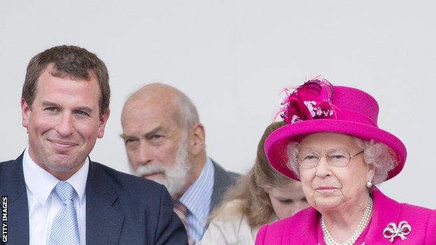 Peter Phillips (left) with his grandmother, the Queen.